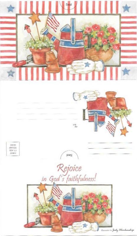 US Mint postcard - Tri fold card - gardening.  Rejoice in God's faithfulness!