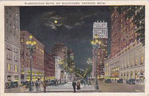 Michigan Detroit Washington Boulevard By Moonlight