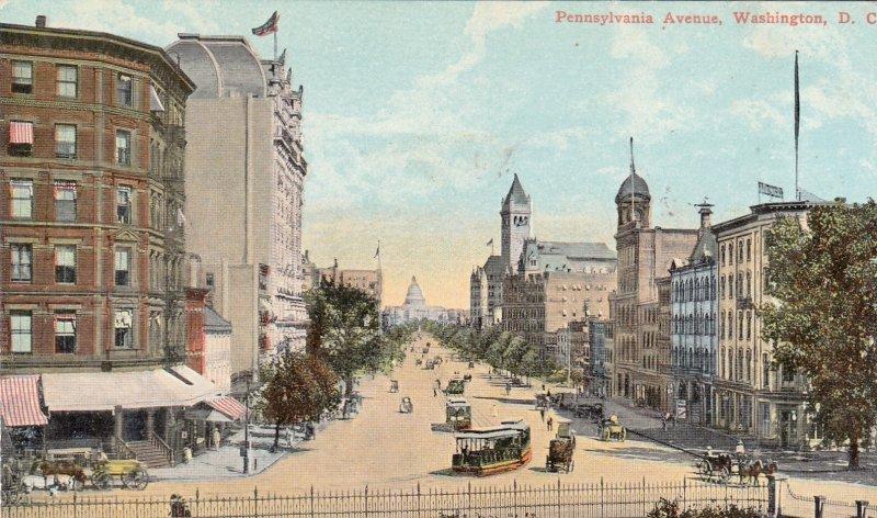 P1943 old postcard trollys horses and wagons etc pennsylvnia ave washington D.C.