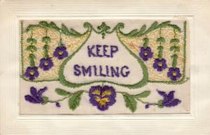 Hand Sewn, 1900-10s; Keep Smiling, Flowers, Insert, Love to all at Home