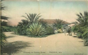 C-1910 Driveway Country Home Phoenix Arizona Hand colored Postcard 20-1786