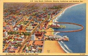 California Long Beach Showing Auditorium and Rainbow Pier 1944 Curteich
