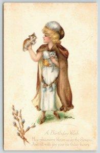M Dulk~Fantasy Flower Girl Holds Kittens~Pussy Willow Hat~Fur Cape~Gibson Art PC