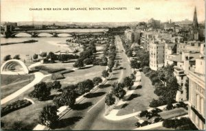 Vtg Postcard Boston Massachusetts MA Charles River Basin and Esplanande UNP