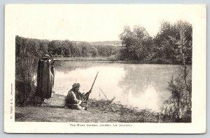 Jordan~Robed Gentlemen Shoot Guns on Banks of River Jordan~1905 Postcard