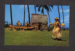 HI Hawaii Postcard Tahitian Dancers Hula Girls Polynesian Laie Ctr Kodak Oahu