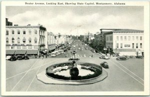 Montgomery, Alabama Postcard DEXTER AVENUE Looking East State Capitol View