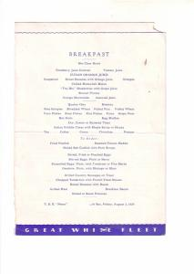 TSS Peten Cruise Ship Menu, White Fleet, At Sea, August 3, 1934,