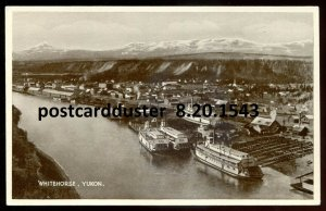 1543 - WHITEHORSE Yukon Postcard 1940s Harbor View. Steamers by Lee