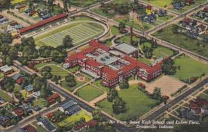 Indiana Evansville Aerial View Bosse High School and Enlow Field Curteich