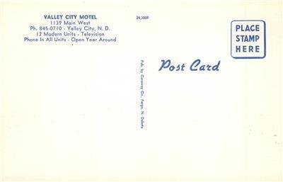 VALLEY CITY MOTEL Valley City, North Dakota Roadside c1950s Vintage Postcard