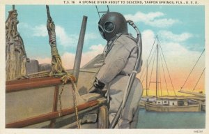 TARPON SPRINGS , Florida , 1910s ; A Sponge Diver About to Descend
