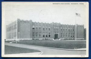 Navasota Texas tx high school old postcard