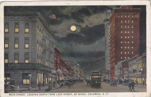 South Carolina Columbia Main Street Looking North From Lady Street By Night