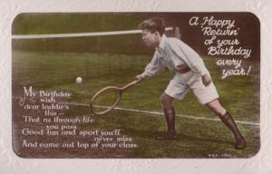 Boy Playing Tennis Court Wild Socks Happy Return Serve Birthday RPC Old Postcard