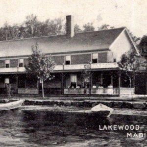 Lakewood Inn Madison ME lake row boats wraparound porch undivided back c1905