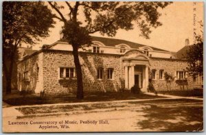 1910 Appleton, Wisconsin Postcard LAWRENCE CONSERVATORY OF MUSIC Peabody Hall