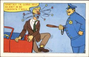 Cop Police Officer & Drunk Driver Comic 1950s Humor Postcard