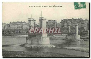 Old Postcard Lyon Bridge Hotel Dieu