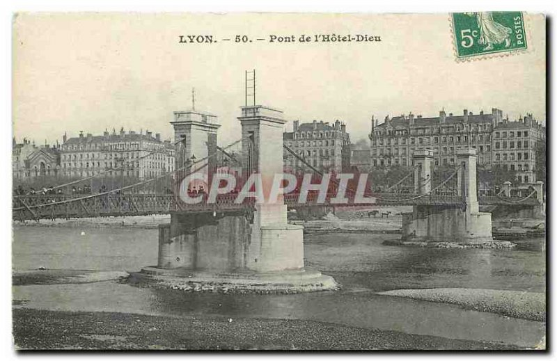 Old Postcard Lyon Bridge Hotel Dieu