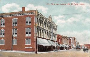Fort Ft Scott Kansas~Main & 2nd Street~Greenfield's Clothing Store~Brown's~1909
