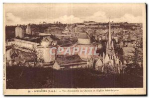 Old Postcard Fougeres of whole Chateau Vue and Saint Sulpice Church