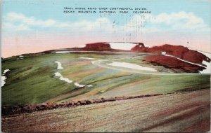 Trail Ridge Road Rocky Mountain National Park CO Kropp Linen Postcard G75