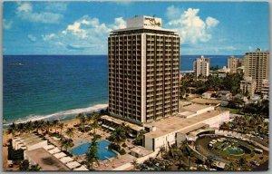 San Juan, Puerto Rico Postcard SHERATON HOTEL Bird's-Eye Beach View c1960s