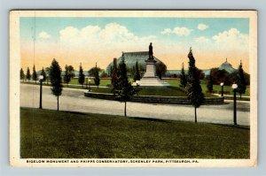 Pittsburgh PA-Pennsylvania, Bigelow Monument, Conservatory, Vintage Postcard