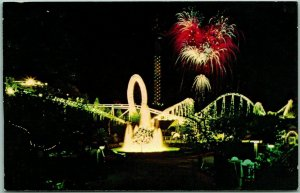 Valencia, California Postcard MAGIC MOUNTAIN Amusement Park Night Fireworks