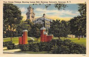 Syracuse New York~Syracuse University-Lyman Hall~Campus Entrance in Front~1945