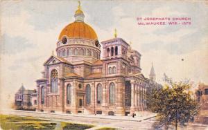 MILWAUKEE WISCONSIN ST JOSEPHATS CATHOLIC CHURCH POSTCARD 1909