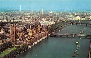 London Aerial view of the River Thames and Houses of Parliament Bridge Boats