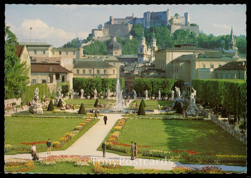 Festival City of Salzburg - Mirabell Gardens with the Cathedral and the Fortress