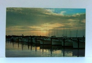 Rehoboth Beach Delaware Sunset At Indian River Yacht Basin Postcard