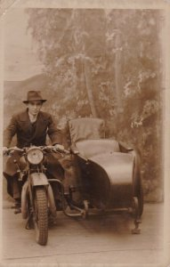 RP; Portrait man on Motorcycle , 00-10s ; Blackpool Studio , England