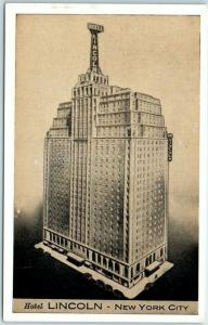 New York City Postcard HOTEL LINCOLN Artist's View - Lumitone c1940s Unused