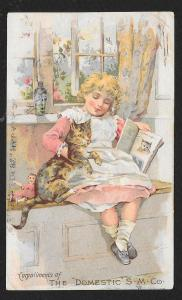 VICTORIAN TRADE CARD Domestic Sewing Co Girl in Pinafore with Cat at Window