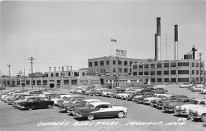 G21/ Fremont Michigan RPPC Postcard 1955 Gerber's Baby Foods Factory Autos