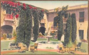 Casa De Manana, La Jolla, California, Early Hand Colored Postcard, Unused