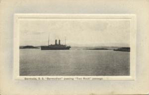 bermuda, Steamer S.S. Bermudian passing Two Rock Passage (1910s) Embossed