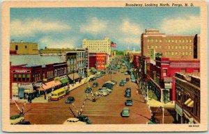 Fargo, North Dakota Postcard BROADWAY Looking North Downtown Scene Linen 1940s