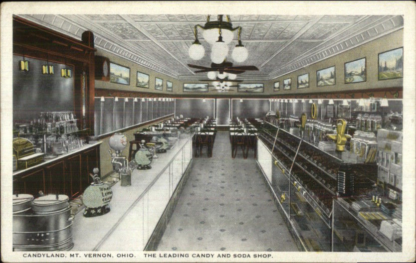Mt  Vernon OH Candyland Candy & Soda Shop Interior c1920