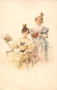 Vintage Fashion, Ladies Women Dress, Hand Fan, Book, Postcard 1903