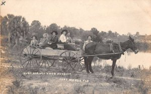 Port Richey Florida Family From Detroit Horse Wagon Real Photo Postcard AA20556