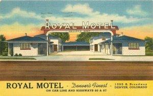 Denver Colorado 1948 Royal Motel roadside Postcard Teich linen 6479