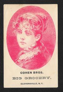 VICTORIAN TRADE CARD Cohen Bros Grocery Pretty Lady