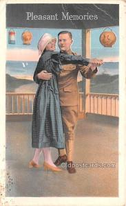 Military Comic Postcard, Old Vintage Antique Post Card Pleasant Memories Unused