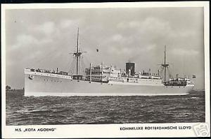 Royal Dutch Lloyd, M.S. Kota Agoeng (1940s) RPPC