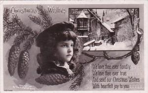 Christmas Young Girl & Landscaoe Scene Real Photo Rotograph